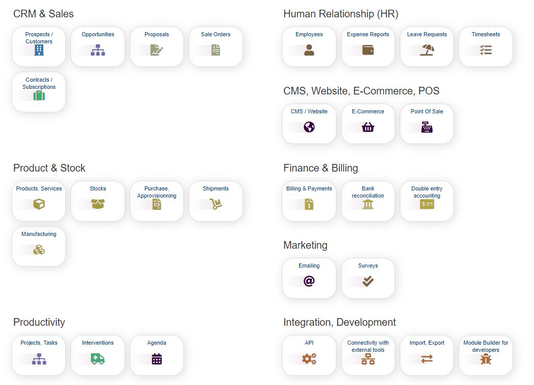 ERP & CRM for Business (sme or large companies, freelancers, foundations)